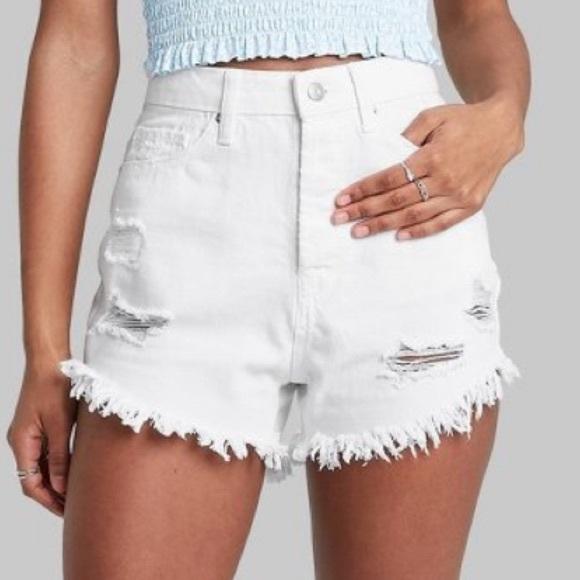 Wild Fable High Rise Frayed Hem Jean Shorts